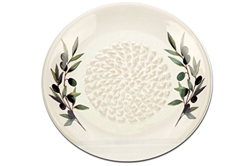 Grating Plate (White Ceramic Garlic Grater Plate - Olive Branch Design)