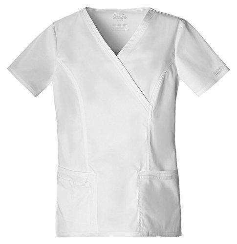 Hq Mock Wrap - Cherokee Workwear Women's Mock Wrap Pocket Shirt_White_X-Small,4728