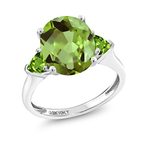 (Gem Stone King 10K White Gold Green Peridot 3-Stone Women's Engagement Ring 3.52 cttw Oval Gemstone Birthstone Available in size 5, 6, 7, 8, 9)