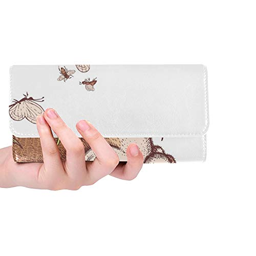 Unique Custom Easter Bunny Rabbit Chocolate Easter Eggs Women Trifold Wallet Long Purse Credit Card Holder Case Handbag