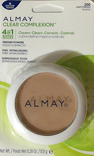 Almay Clear Complexion 4 in 1 Blemish Eraser, Pressed Powder Light/Medium [200] 0.28 oz (Pack of 4)
