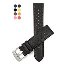 22mm Brown Vented Racer Leather Watch Strap Band, Black, White, Brown, Yellow, Orange, Blue and Red