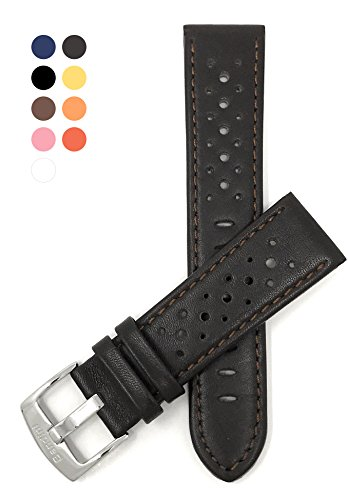 Leather Brown Hamilton (Vented Racer Genuine Leather Watch Strap Band, with Stainless Steel Buckle, 18-24mm, Comes in Many Colors (22mm, Brown))