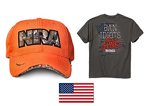 NRA Hi Viz Orange Hat + Men's BAN Idiots NOT Guns T-Shirt Medium + American Flag Decal 2