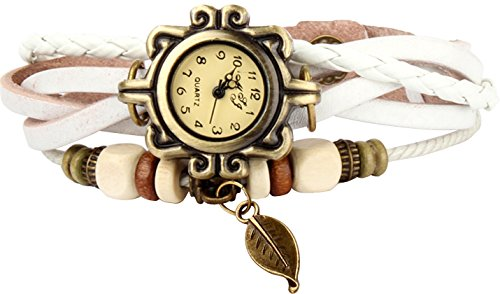 Stylish Around Wrap - Bohemian Style [Retro] Handmade Leather [Tree Leaf] Wrist Watch. Beautiful, Fashionable [Luxury] & Stylish [Weave Around] Wrap Watch Bracelet For Women, Ladies, Girls- White