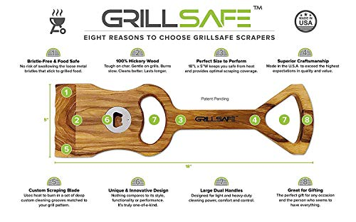 "18"" Premium Hickory Wooden BBQ Grill Scraper. The Ultimate, All-Natural Grill Brush Safe, Bristle-Free ""Custom"" Grill Cleaning. Made Pride in The USA Guarantee. by GrillSafe (Image #8)"
