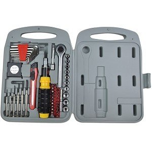Price comparison product image 55-Piece PC Tool Kit w / Ratchet Driver,  Assorted Bits,  Screwdrivers,  Socket / Allen Wrenches,  Tape Measure,  Case & More!