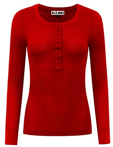 Red Thermal (Ollie Arnes Women's Warm Solid Everyday Long Sleeve Thermal Knit Henley Tops 01_RED L)