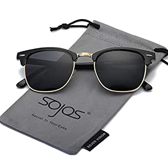 SOJOS Clubmaster Horn-rimmed Semi Rimless Polarized Sunglasses SJ5018 with Black Frame/Grey Polarized Lens