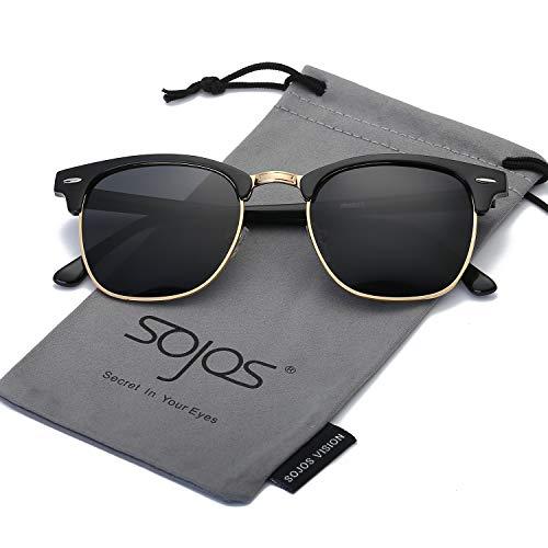 (SOJOS Semi Rimless Polarized Clubmaster Sunglasses for Men Women Half Horn Rimmed Glasses SJ5018 with Black Frame/Grey Polarized Lens)