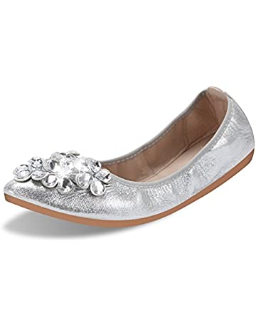 6c45b9148 QIMAOO Womens Fold up Pumps Roll up Shoes Foldable Ballet Flats with  Rhinestone, Portable Ladies