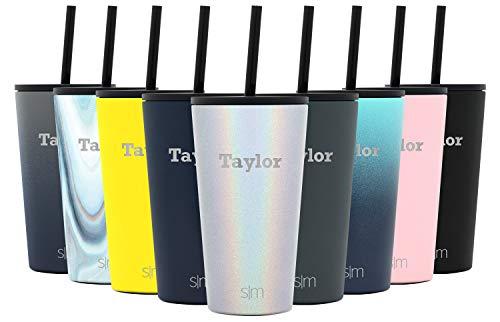 Simple Modern Personalized Gift Tumbler Custom, Classic 16oz - Straw & Flip Lid, Shimmer: Selenite