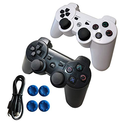 Wireless PS3 Controller Dualshock 3 with Playstation 3 Controller, Built-in-Double Vibration Motors with Sensitive Motion Control. (2pack Black and -