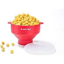 JustNile Collapsible Silicone Popcorn Popper Bowl, Healthy Popcorn Popper for Microwave, Homemade Popcorn, Hot Air Popcorn Maker, 100% Free of BPA and PVC - Red