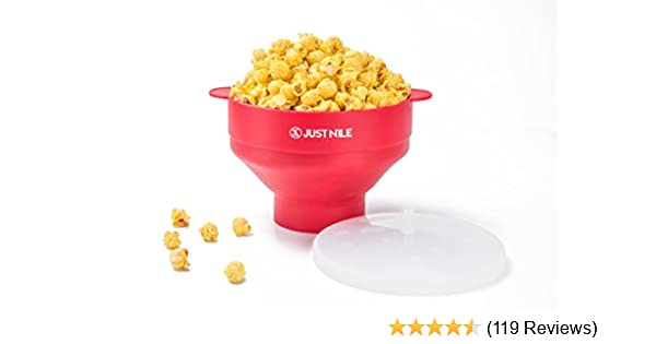 HIPPIH 100/% BPA Free Silicone Popcorn Maker with FDA approved Microwave Popcorn Popper Collapsible Popcorn Bowl With Lid and Handles for Homemade Popcorn-Light Blue