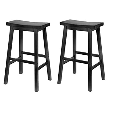 Winsome Wood 29-Inch Saddle Seat Bar Stool, Black (Pack of 2)