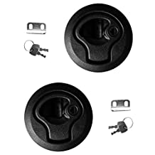 Dovewill 2 Pieces 2'' Cutout Strong Nylon Flush Pull Slam Latch with Lock Keys for Yacht Marine Boat Deck Hatch RV 1/4'' Door/ Panel