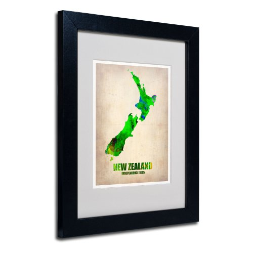 New Zealand Watercolor Map by Naxart Matted Framed Art, 11 by 14-Inch, Black Frame from Trademark Fine Art