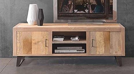 Porta tv portatv mobile soggiorno legno massello ontano 2 porte ...