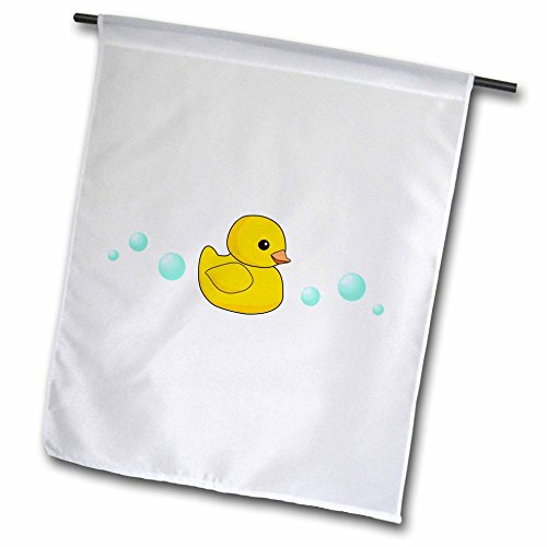 3dRose fl_112950_1 Cute Yellow Rubber Ducky Cartoon with Soap Bubbles-Kawaii Duckie on White-Adorable Sweet Duck Garden Flag, 12 by 18-Inch