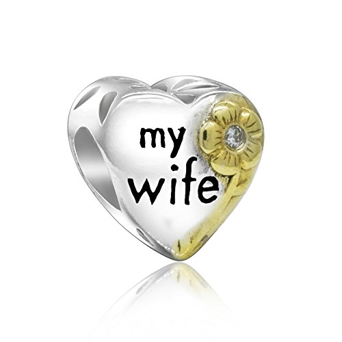 Love My Wife Gold-tone Flower Family Heart 925 Sterling Silver Bead Fits Pandora - Kays Charmed Jewelry Memories
