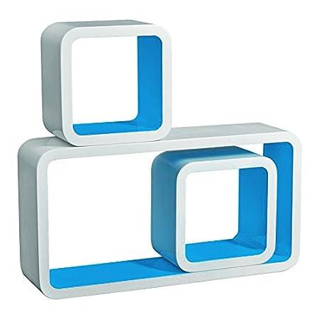 floating shelves blue set of 3 cube floating shelves cd dvd toys rh amazon co uk