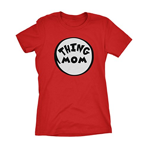 CUSC Thing Mom Women's T-shirt Funny Halloween Costume Xmas Humor 1 2 Dad Mom Shirt Red Large (Thing 1 And Thing 2 Costume Ideas)