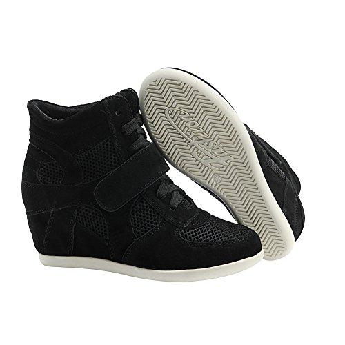 Femme Suède Noir Coin rismart Talon Caché Formel Boucle Baskets Tissu Chaussures 0qxSwBxd