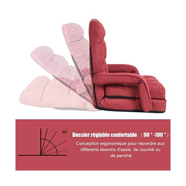 Costway Fauteuil Convertible, Fauteuil Convertible 1 Place avec Oreiller, Rembourré avec Eponge Doux et Elastique, 5 Positions Disponibles pour Salon,Bureau,Chambre (Rouge)