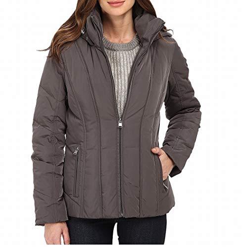 Calvin Klein Women's Short Down Coat w/Untrimmed Hood, Titanium MD (US ()