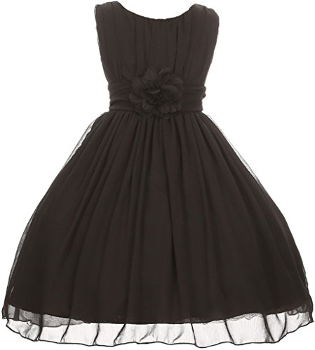 Ruched Little Black Dress (AkiDress Yoryu Ruched Round Neck Chiffon Flower Girl Dress for Little Girl Black 16 GG3534)