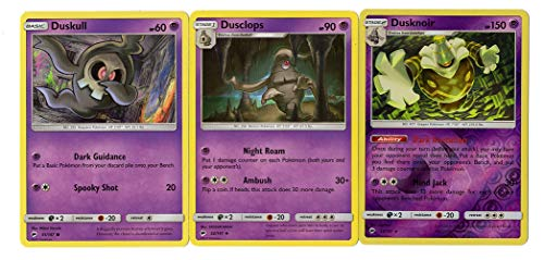Evolution Set - Dusknoir Dusclops Duskull - Burning Shadows 53/147 Holo Rare Card lot -