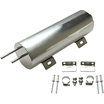 BLACKHORSE-RACING 2 X 10 Polished Stainless Steel 14 OZ Radiator Coolant Over Flow Puke Tank Can
