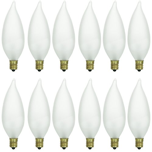 Sunlite 40CFF/32/12PK Candelabra (E12) Base Flame Tip 40W Incandescent Chandelier Frosted Bulb (12 (Base Frosted Incandescent Light Bulb)