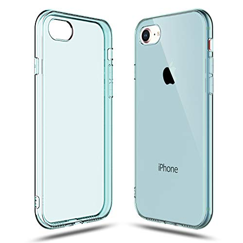 Shamo's Transparent Shock Absorption TPU Rubber Gel Case (Blue) Compatible with iPhone 7 and iPhone 8