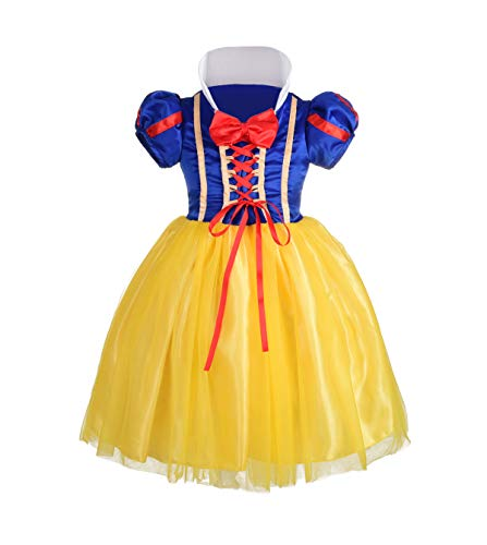 Dressy Daisy Girls' Princess Snow White Costume Fancy Dresses Up Halloween Party Size 4