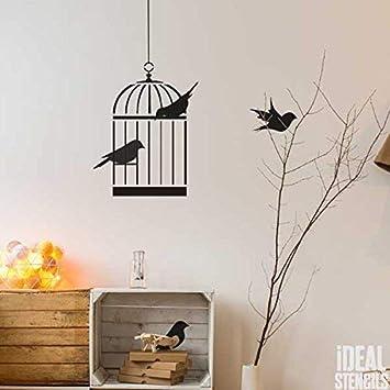 Jaula Pájaros Decoraciones De La Pared cuarto del bebé PLANTILLA ...