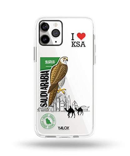 جراب Yalox لهاتف iPhone 11 Pro من مجموعة سعودي فالكون حافظة صلبة للجسم بالكامل مع واقي شاشة مدمج حساس مقاوم للخدش من مادة TPU + TPU + البولي كربونات + البولي كربونات + زوايا معززة (البولي كربونات)