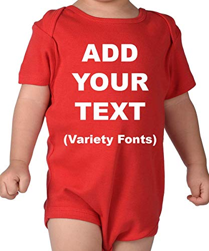 (Custom Baby Onesies Ultra Soft Cotton Add Your Text for Baby Girl & Baby Boy - Red/6M (3-6 Months))