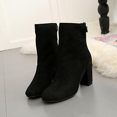 De donna-stivaletti-casual-comoda-quadrato-scamosciato-nero/Rosa/Gris, negro, us6.5-7 / eu37 / uk4.5-5 / cn37 negro