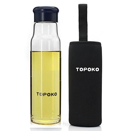 BONISON Stylish Top Level Quality Environmental Borosilicate Glass Water Bottle with Colorful Nylon Sleeve 18oz-Knight Navy