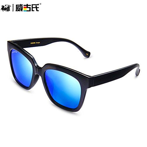 Bright conducción Box circulando Bright Blue negra brillante para KOMNY hombres gafas azul en caja de Black brillante sol espejo 06g6pq