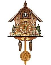 TOTOKA German Black Forest Cuckoo Clock, Retro Nordic Style Wooden Cuckoo Wall Clock, Handcrafted Wood Cuckoo Clock for Home Decor