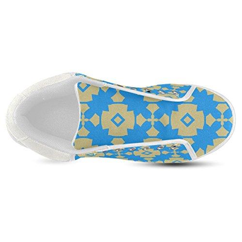 Scarpe In Tela Chukka Geometriche Blu Oro Per Uomo (modello 003)