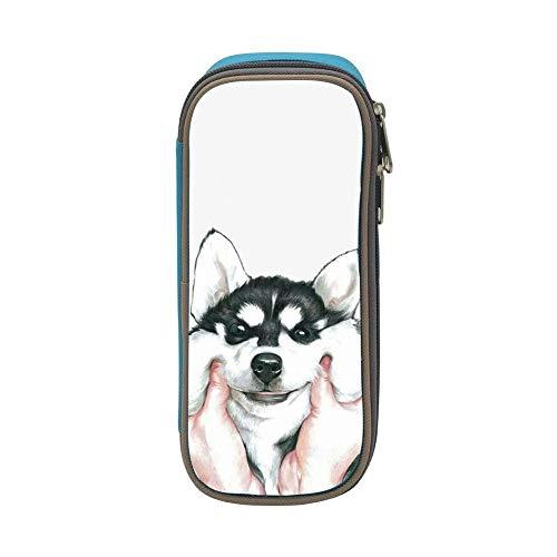 Siberian Husky Pencil Case Pen Bag Makeup Pouch Student Large Capacity Zipper Multifunction Blue