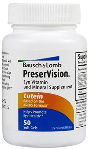 Bausch & Lomb PreserVision Eye Supplement w/ Lutein Softgels, 50 ct (Pack of ()