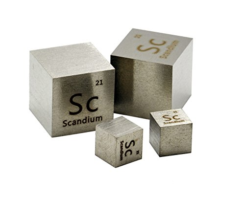 20mm Scandium Metal Density Cube 99.9% Pure by Luciteria Science