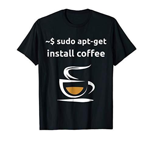 Mens Linux Sudo Apt-Get Install Coffee Tshirt, Geeks Gift Tshirt Large Black
