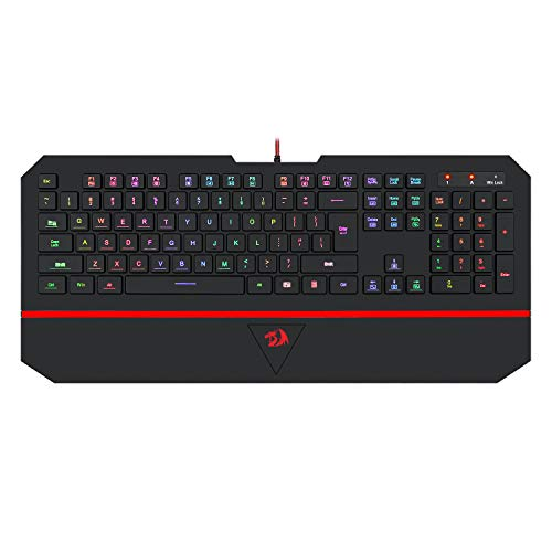 Redragon K502 RGB Gaming Keyboard RGB LED Backlit Illuminated 104 Key Silent Keyboard with Wrist Rest for Windows PC Games (RGB Backlit)