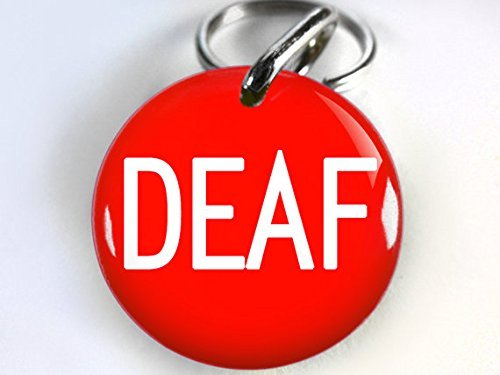 Deaf Dog ID Tag Pet id tags Unique pet tags Personalized with your pet info DBL (Large 1.5'') by ID4Pet